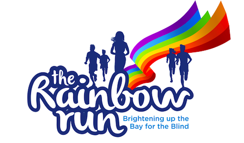 Text reading, 'The Rainbow Run, Brightening up the bay for the blind. The image also includes a rainbow decal and outlines of running figures.