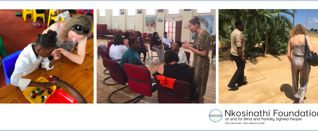 The collage is made up of 3 images. The 1st is Merel observing junior client Sibahle as she beads. The 2nd is of Merel who is in a discussion with parents of visually impaired children, during a workshop. The 3rd is of Merell walking along side Addo based NF fieldworker, Riet, who is also blind.